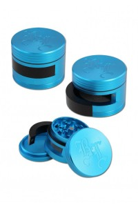 'BL' 'Dooor' Aluminium Grinder 3-part w. Door 64mm Blue