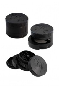 'BL' 'Dooor' Aluminium Grinder 3-part w. Door 64mm black